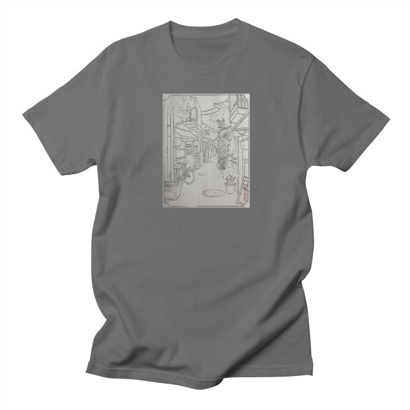 Streetlights and Lanterns (Black and White Print) Men's T-Shirt by Emily's Artist Shop (all profits to organizations)
