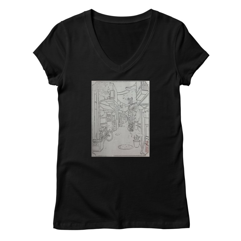 Streetlights and Lanterns (Black and White Print) Women's V-Neck by Emily's Artist Shop (all profits to organizations)