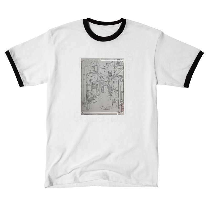 Streetlights and Lanterns (Black and White Print Graphic Dark Tee) Women's T-Shirt by Emily's Artist Shop (all profits to organizations)