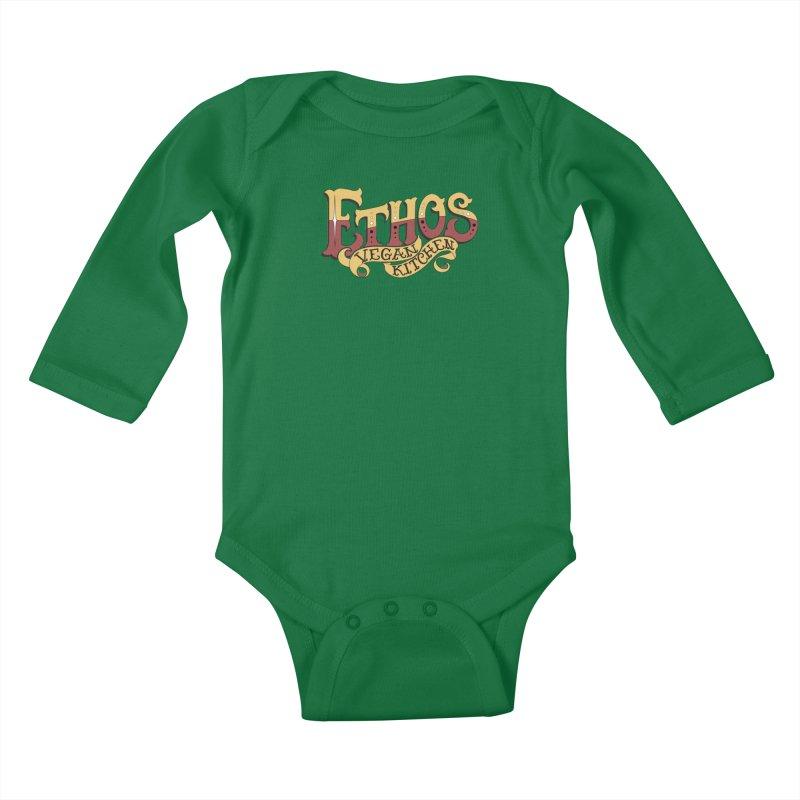 Ethos Logo Kids Baby Longsleeve Bodysuit by Ethos Vegan Kitchen's Logo Shop