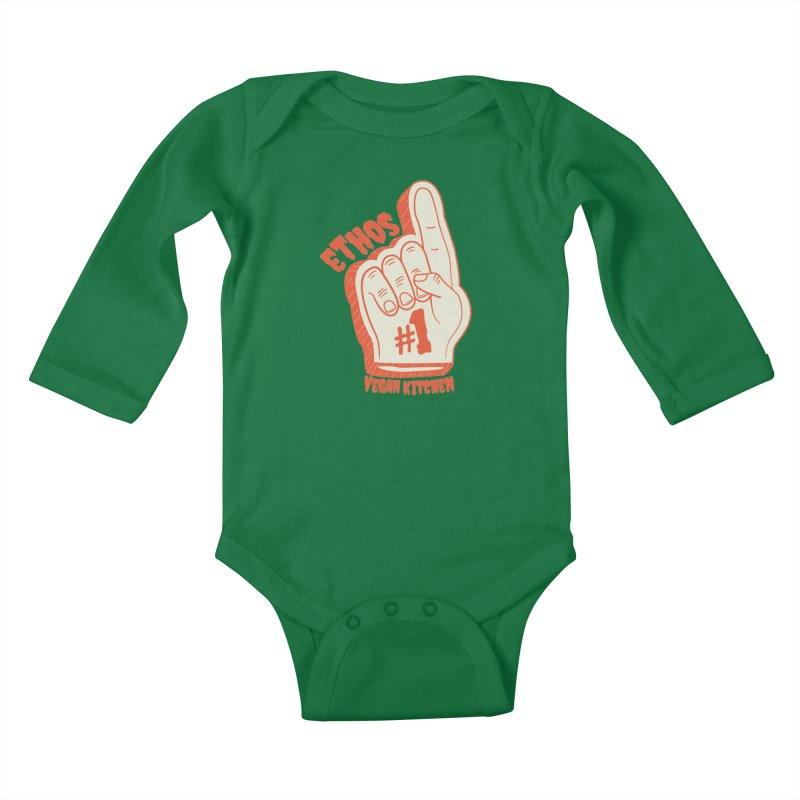 Number 1! Kids Baby Longsleeve Bodysuit by Ethos Vegan Kitchen's Logo Shop