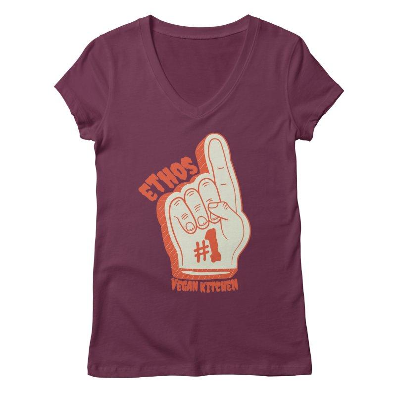 Number 1! Women's V-Neck by Ethos Vegan Kitchen's Logo Shop