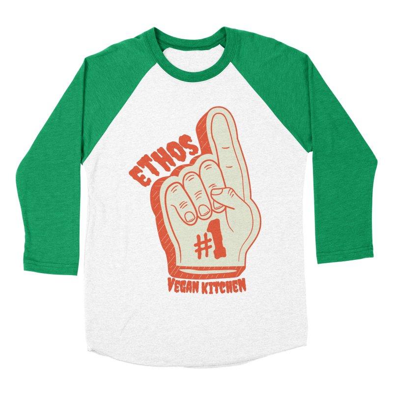 Number 1! Men's Baseball Triblend Longsleeve T-Shirt by Ethos Vegan Kitchen's Logo Shop