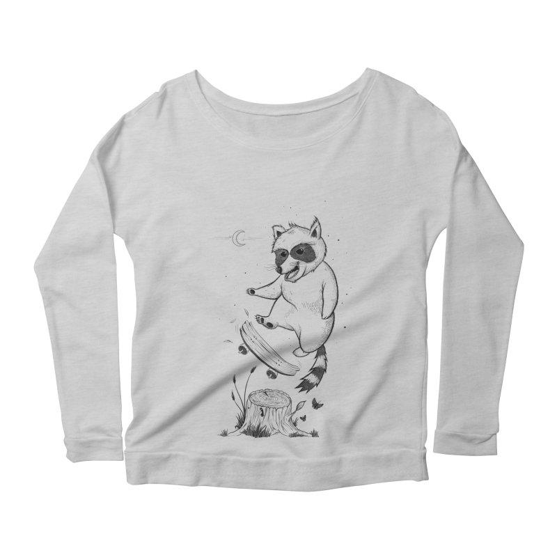 Flippin Racoon Women's Scoop Neck Longsleeve T-Shirt by ETIENNE LAURENT