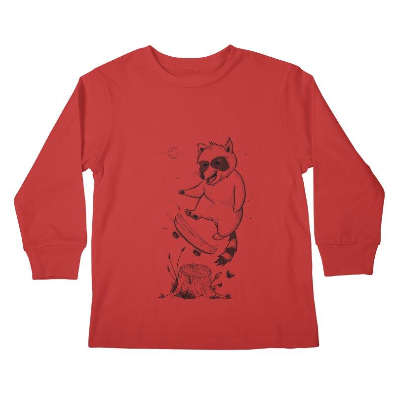 Flippin Racoon Kids Longsleeve T-Shirt by ETIENNE LAURENT
