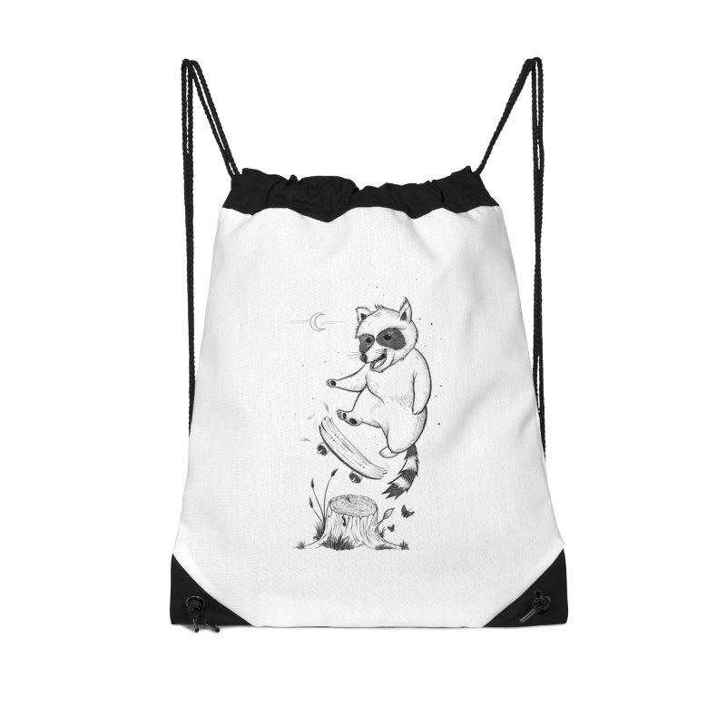Flippin Racoon Accessories Drawstring Bag Bag by ETIENNE LAURENT