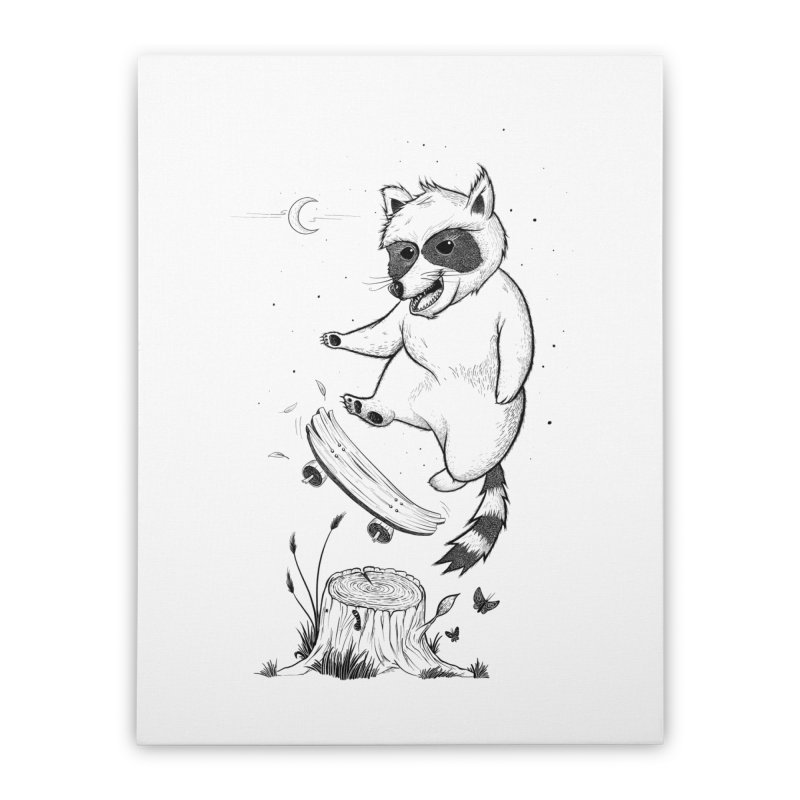 Flippin Racoon Home Stretched Canvas by ETIENNE LAURENT