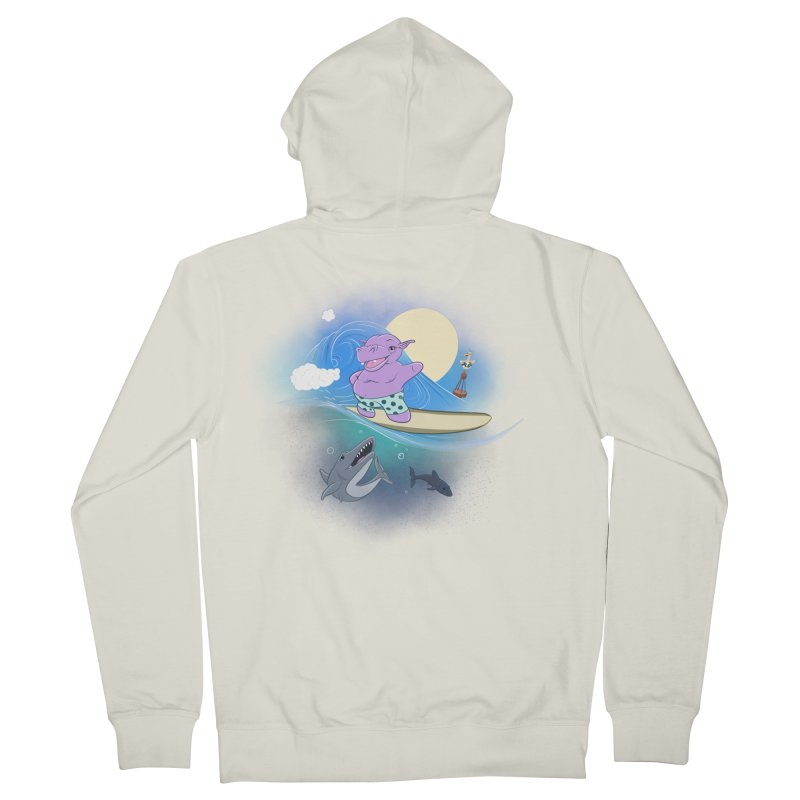 Surfing hippo Women's French Terry Zip-Up Hoody by ETIENNE LAURENT