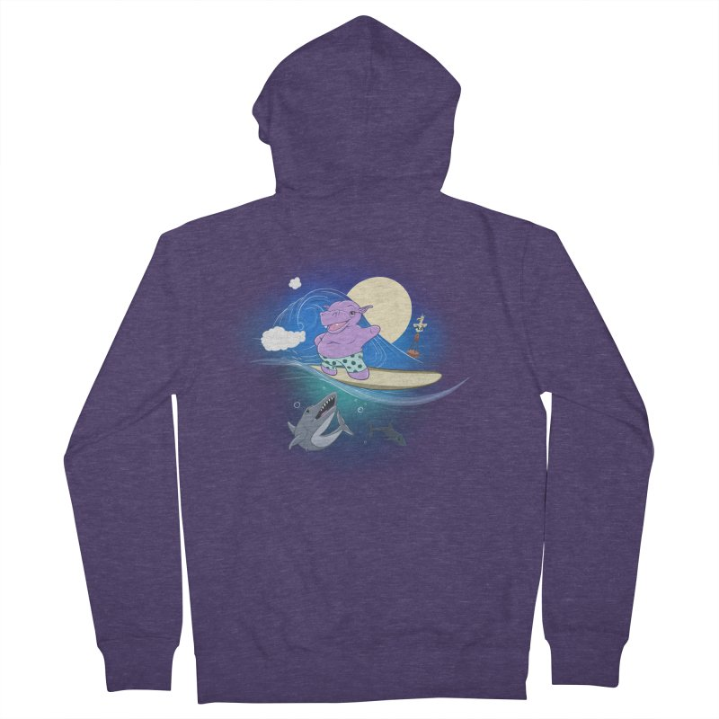 Surfing hippo Men's French Terry Zip-Up Hoody by ETIENNE LAURENT
