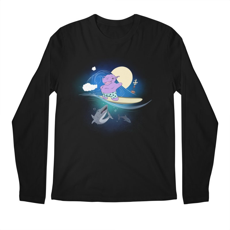Surfing hippo Men's Regular Longsleeve T-Shirt by ETIENNE LAURENT