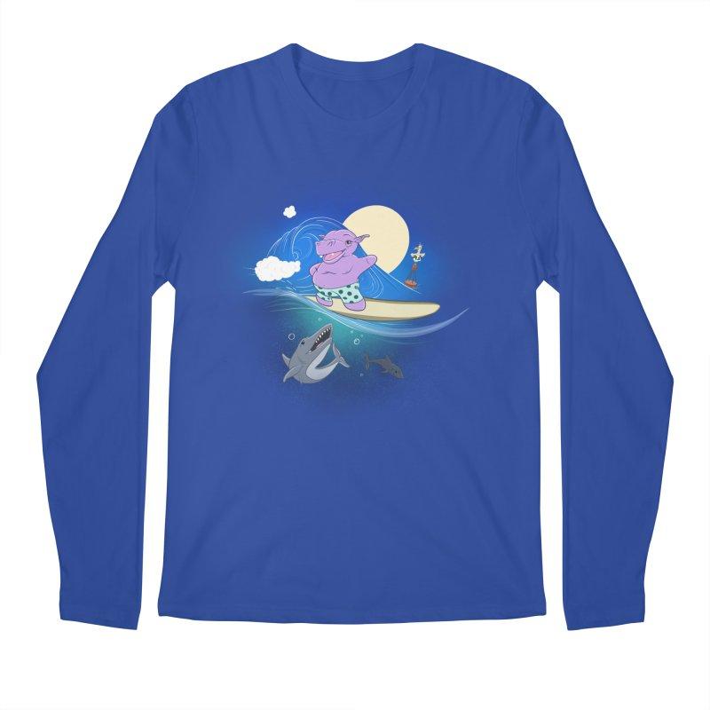 Surfing hippo Men's Regular Longsleeve T-Shirt by ETIENNE LAURENT