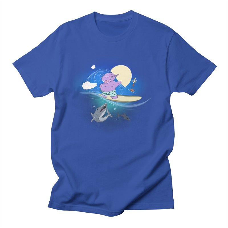 Surfing hippo Men's Regular T-Shirt by ETIENNE LAURENT