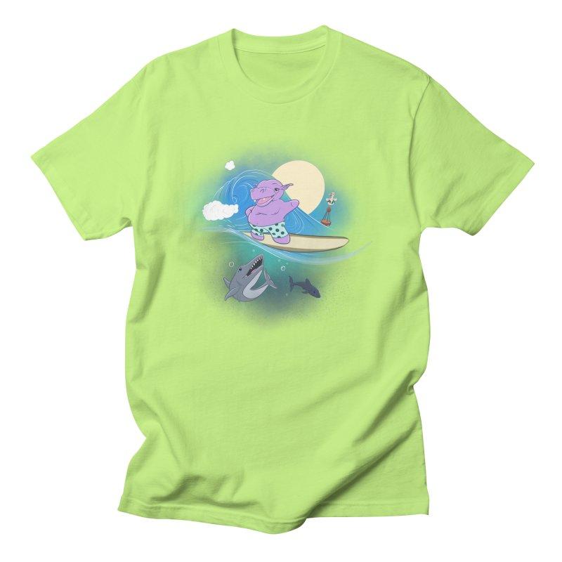Surfing hippo Women's Regular Unisex T-Shirt by ETIENNE LAURENT