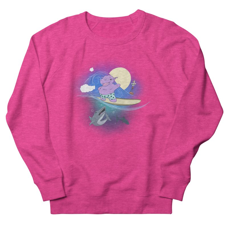 Surfing hippo Women's French Terry Sweatshirt by ETIENNE LAURENT