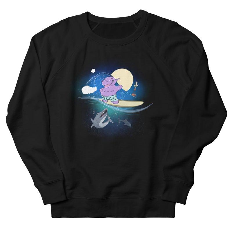 Surfing hippo Men's French Terry Sweatshirt by ETIENNE LAURENT