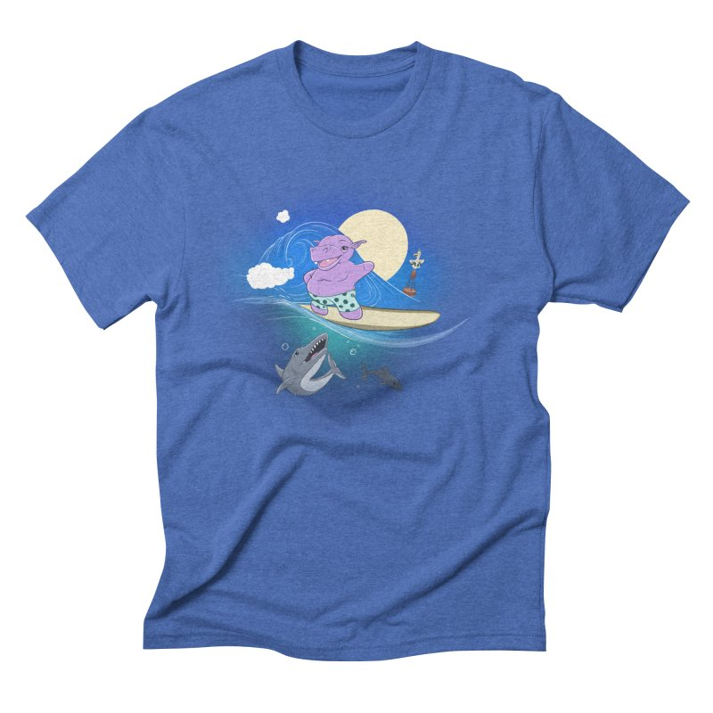 Surfing hippo Men's Triblend T-Shirt by ETIENNE LAURENT