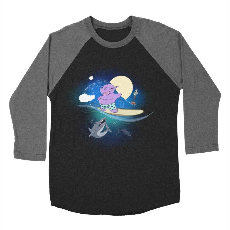 Surfing hippo Men's Baseball Triblend Longsleeve T-Shirt by ETIENNE LAURENT