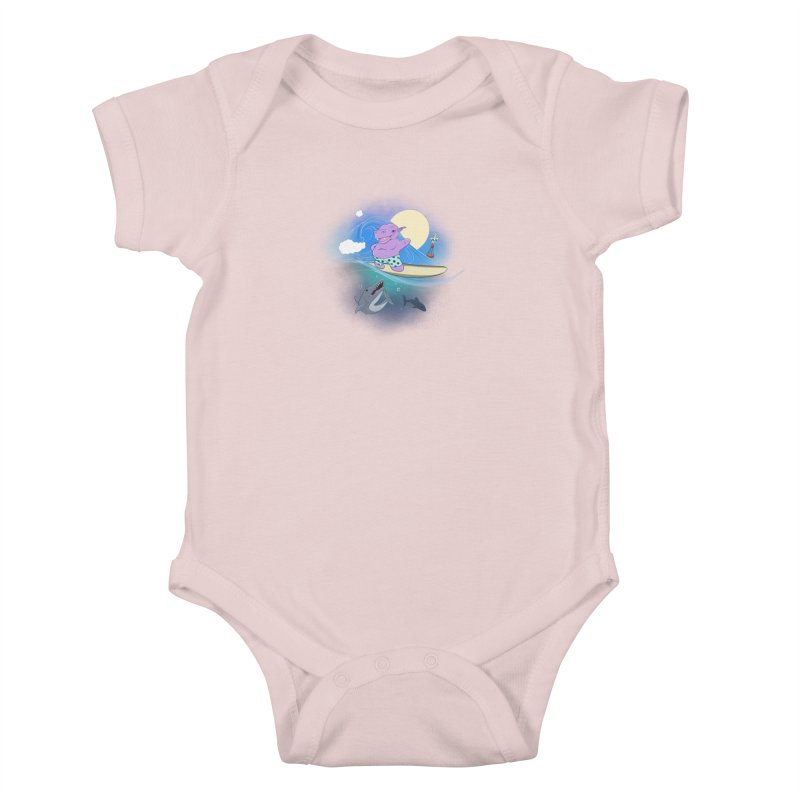 Surfing hippo Kids Baby Bodysuit by ETIENNE LAURENT