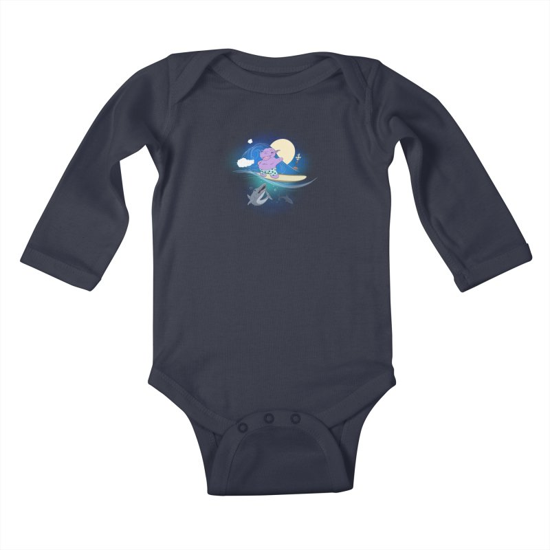 Surfing hippo Kids Baby Longsleeve Bodysuit by ETIENNE LAURENT