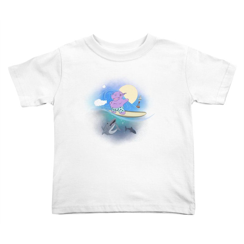 Surfing hippo Kids Toddler T-Shirt by ETIENNE LAURENT