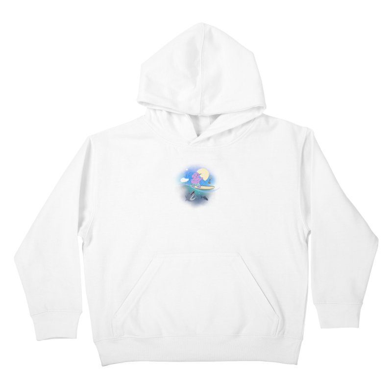 Surfing hippo Kids Pullover Hoody by ETIENNE LAURENT