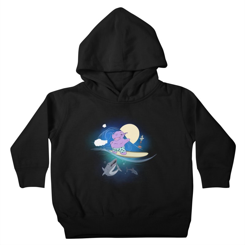 Surfing hippo Kids Toddler Pullover Hoody by ETIENNE LAURENT
