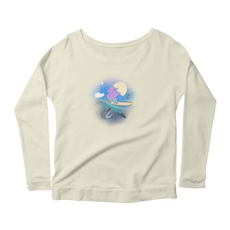 Surfing hippo Women's Scoop Neck Longsleeve T-Shirt by ETIENNE LAURENT