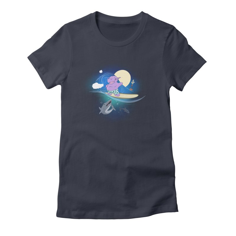 Surfing hippo Women's Fitted T-Shirt by ETIENNE LAURENT