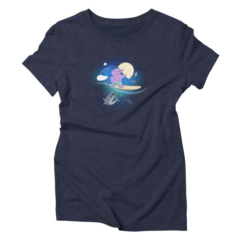 Surfing hippo Women's Triblend T-Shirt by ETIENNE LAURENT