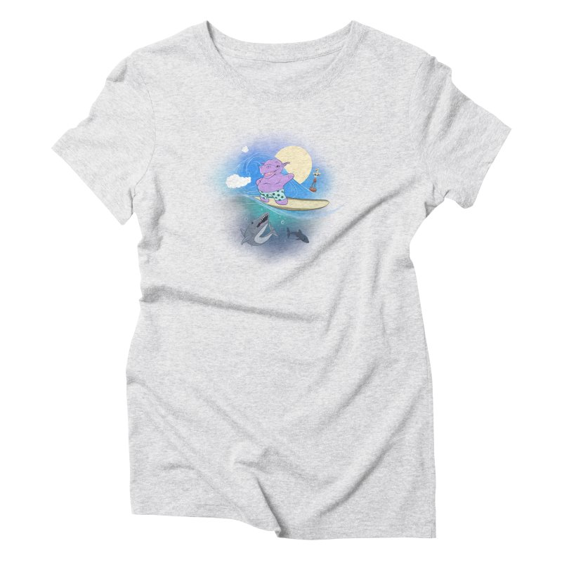 Surfing hippo Women's Triblend T-Shirt by ETIENNE LAURENT