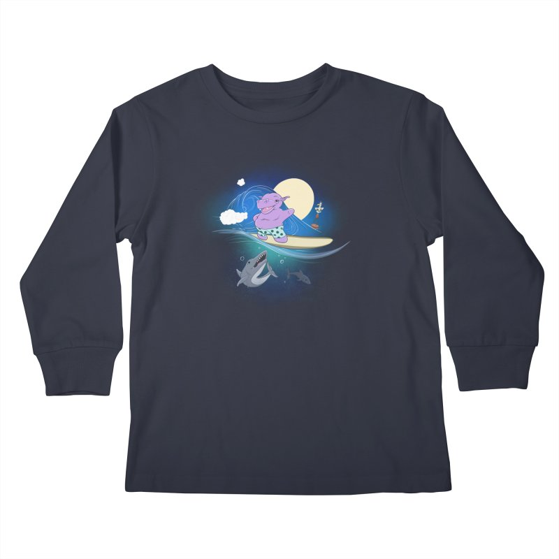 Surfing hippo Kids Longsleeve T-Shirt by ETIENNE LAURENT