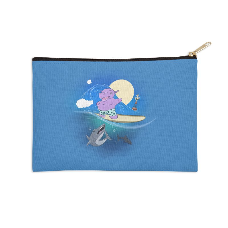 Surfing hippo Accessories Zip Pouch by ETIENNE LAURENT