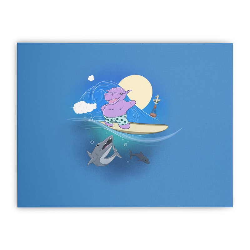 Surfing hippo Home Stretched Canvas by ETIENNE LAURENT
