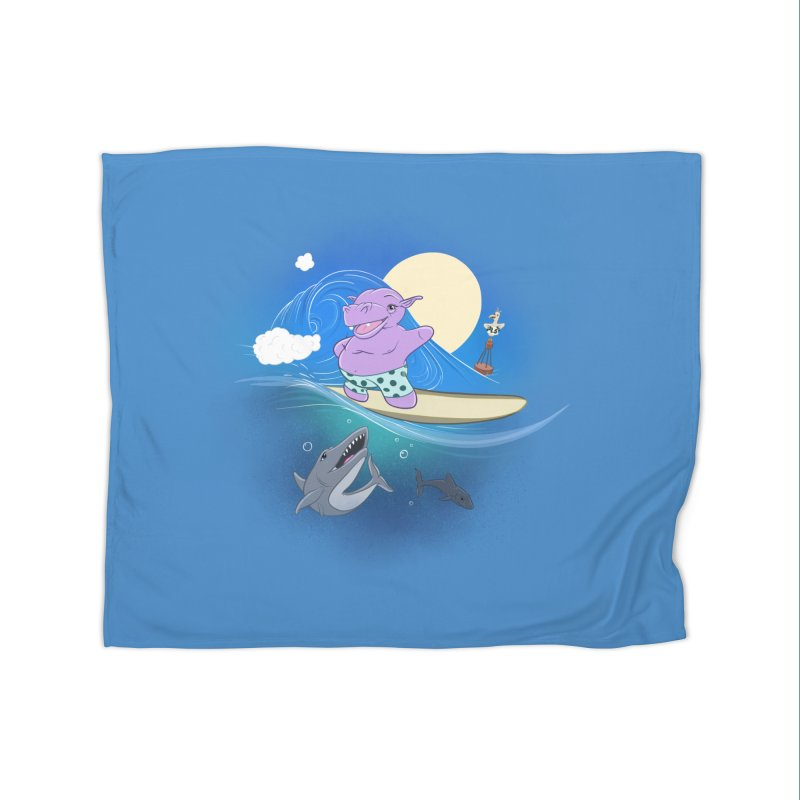 Surfing hippo Home Fleece Blanket Blanket by ETIENNE LAURENT