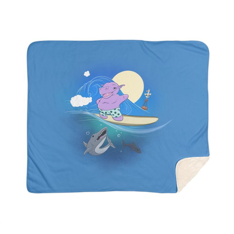 Surfing hippo Home Sherpa Blanket Blanket by ETIENNE LAURENT