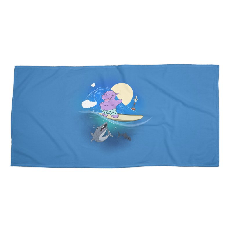 Surfing hippo Accessories Beach Towel by ETIENNE LAURENT