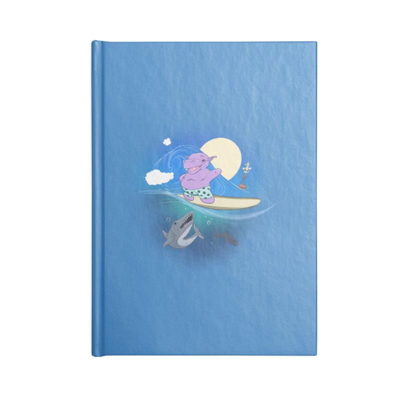 Surfing hippo Accessories Lined Journal Notebook by ETIENNE LAURENT