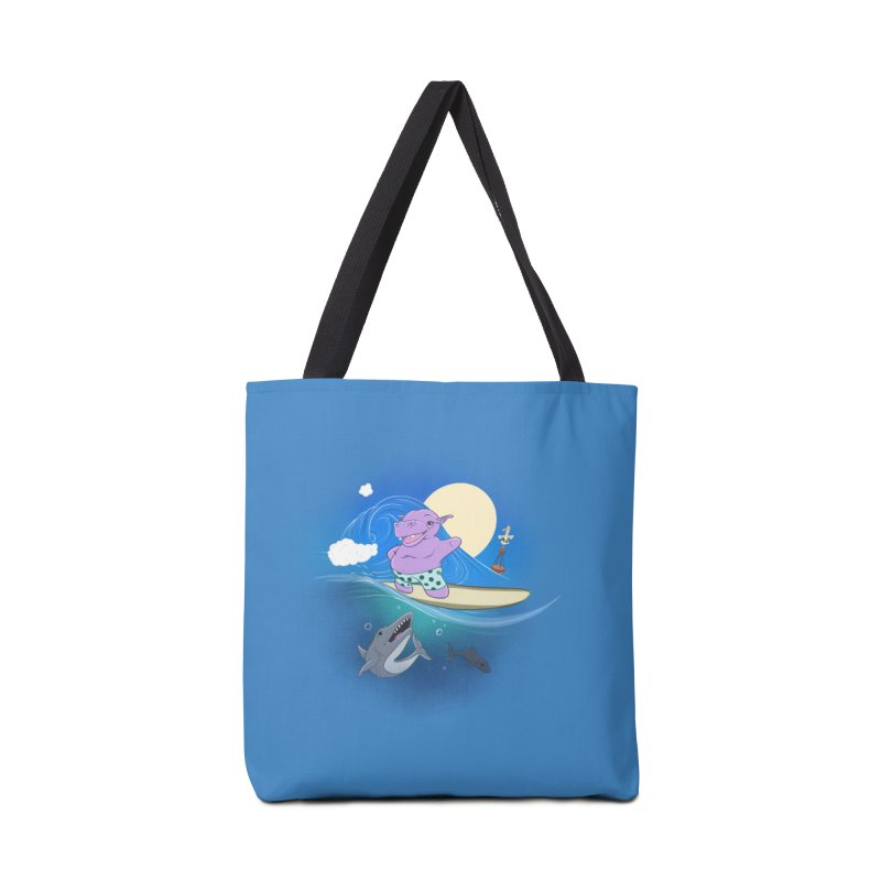 Surfing hippo Accessories Tote Bag Bag by ETIENNE LAURENT