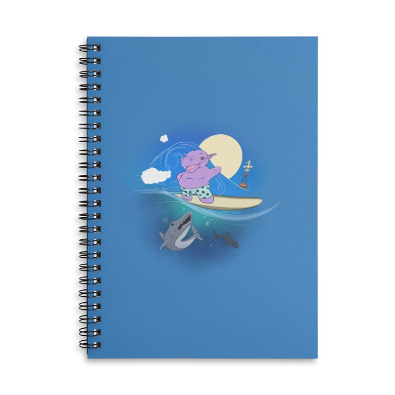 Surfing hippo Accessories Lined Spiral Notebook by ETIENNE LAURENT