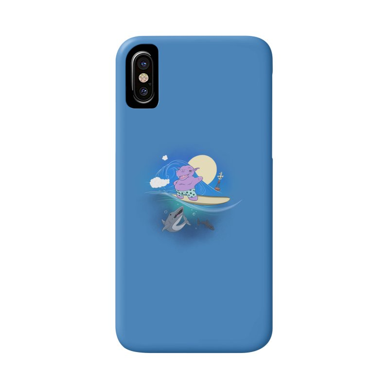 Surfing hippo Accessories Phone Case by ETIENNE LAURENT