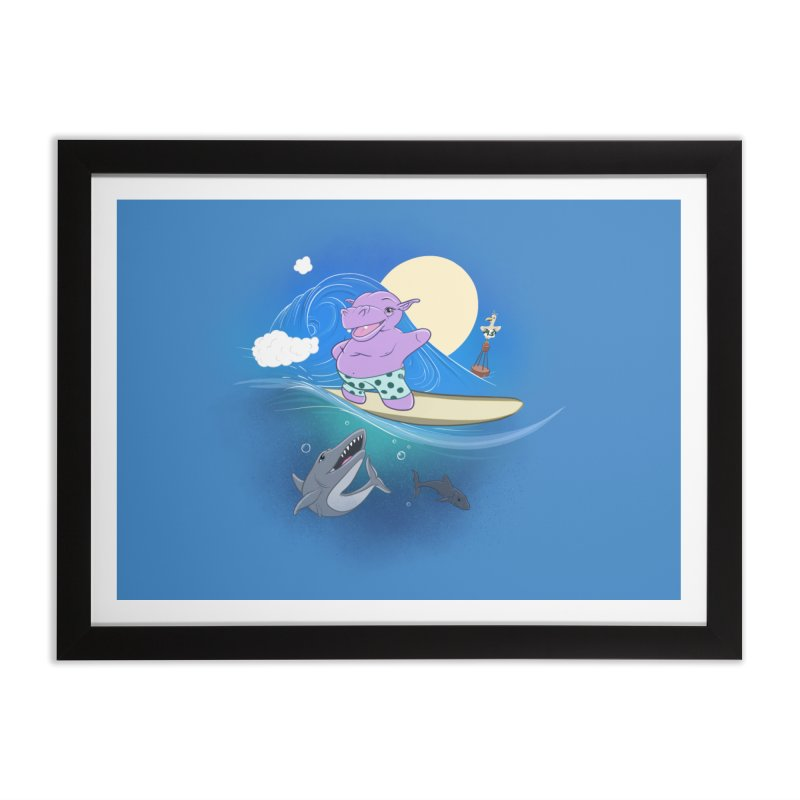 Surfing hippo Home Framed Fine Art Print by ETIENNE LAURENT