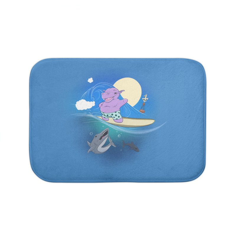 Surfing hippo Home Bath Mat by ETIENNE LAURENT