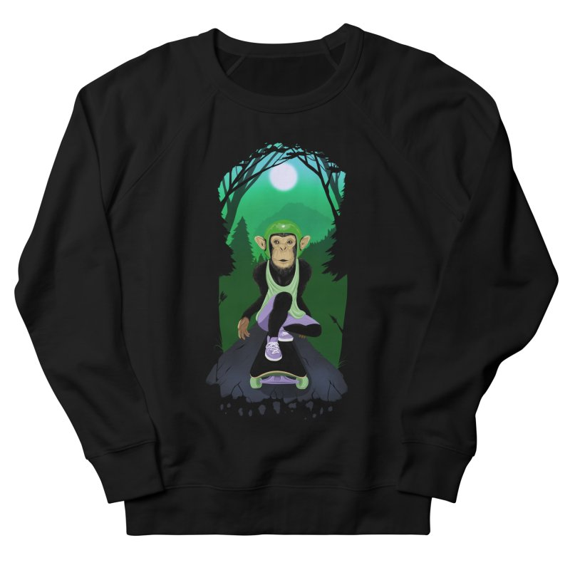 Downhill chimp Women's French Terry Sweatshirt by ETIENNE LAURENT