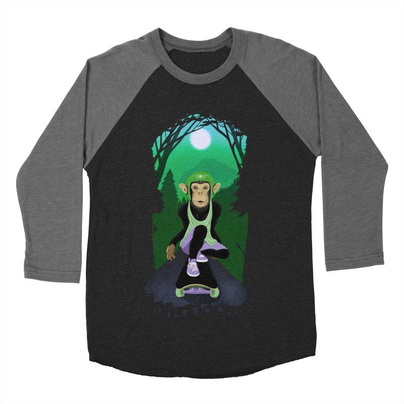 Downhill chimp Men's Baseball Triblend Longsleeve T-Shirt by ETIENNE LAURENT