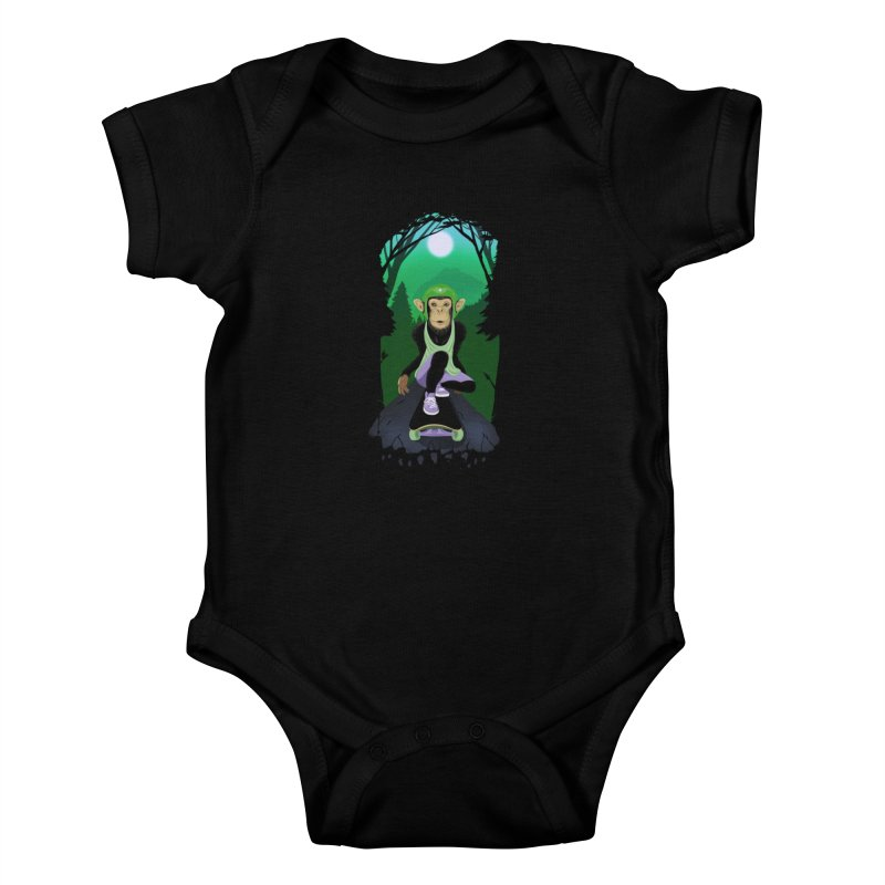 Downhill chimp Kids Baby Bodysuit by ETIENNE LAURENT