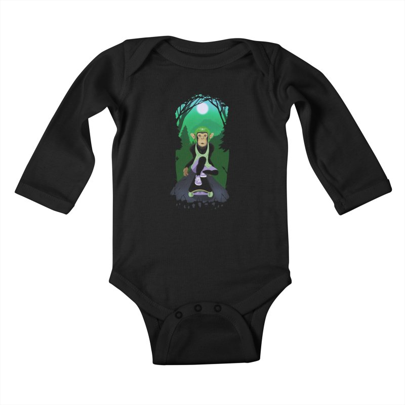 Downhill chimp Kids Baby Longsleeve Bodysuit by ETIENNE LAURENT