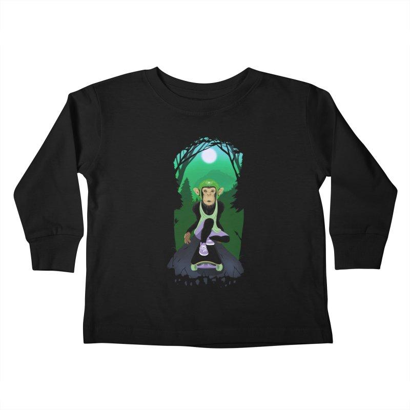 Downhill chimp Kids Toddler Longsleeve T-Shirt by ETIENNE LAURENT