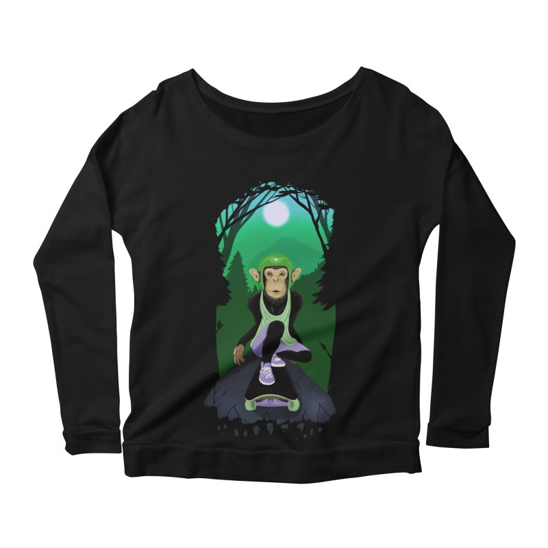 Downhill chimp Women's Scoop Neck Longsleeve T-Shirt by ETIENNE LAURENT