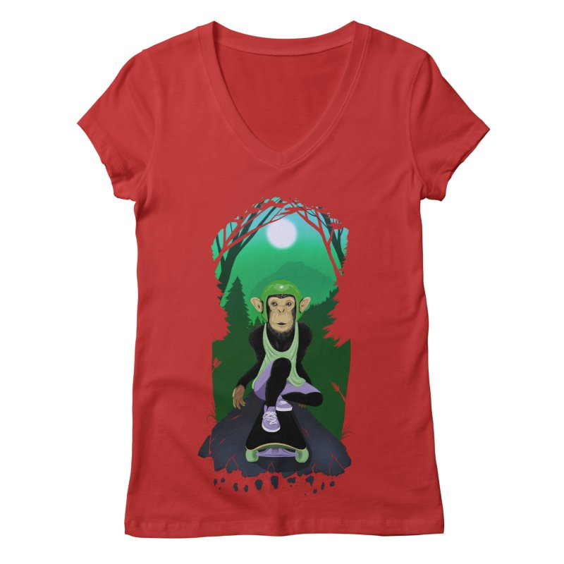 Downhill chimp Women's Regular V-Neck by ETIENNE LAURENT