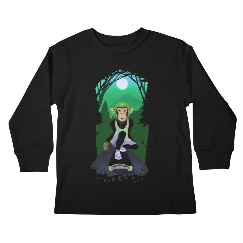 Downhill chimp Kids Longsleeve T-Shirt by ETIENNE LAURENT